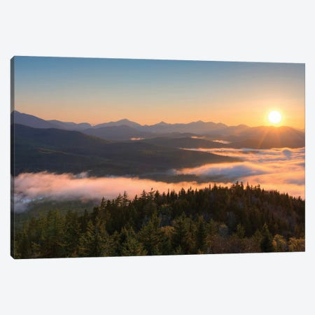 Sunrise Over The Adirondack High Peaks From Goodnow Mountain, Adirondack Park, New York State, USA Canvas Print #PIM14945} by Panoramic Images Canvas Print