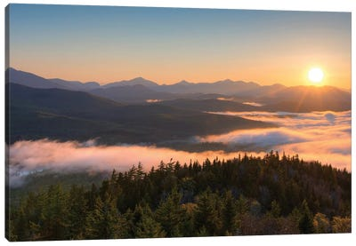 Sunrise Over The Adirondack High Peaks From Goodnow Mountain, Adirondack Park, New York State, USA Canvas Art Print