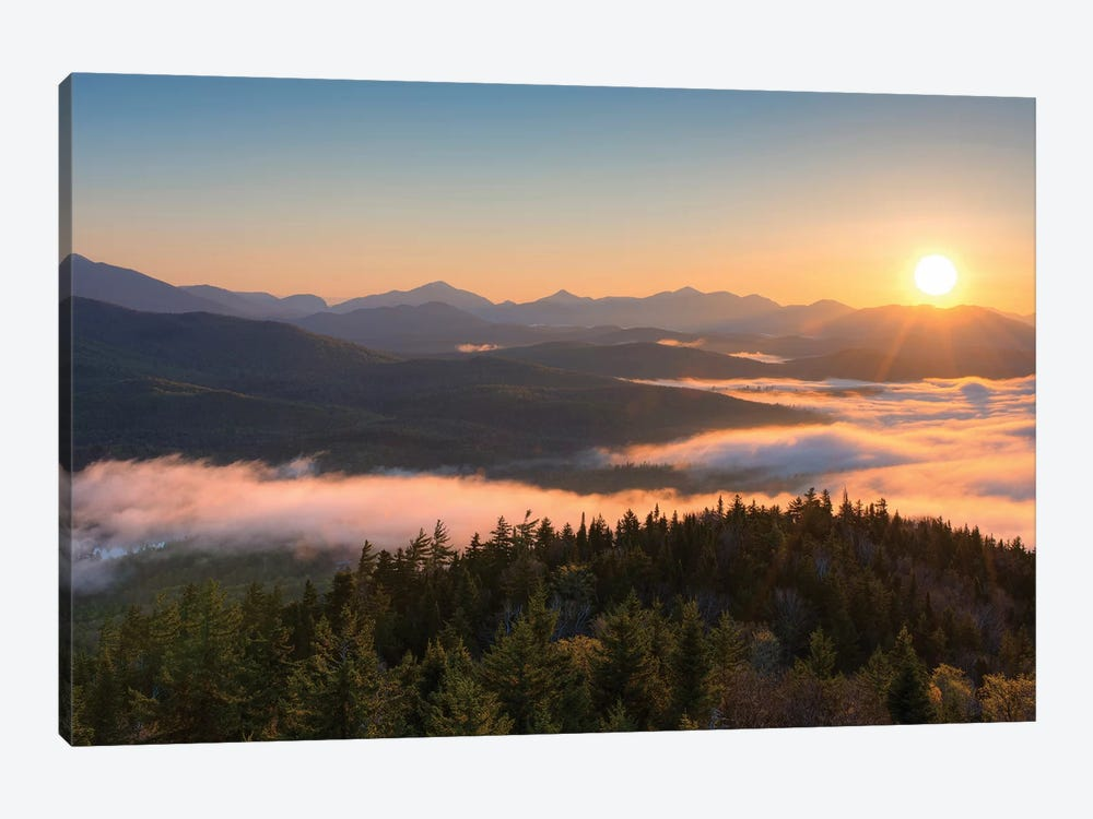 Sunrise Over The Adirondack High Peaks From Goodnow Mountain, Adirondack Park, New York State, USA by Panoramic Images 1-piece Canvas Print