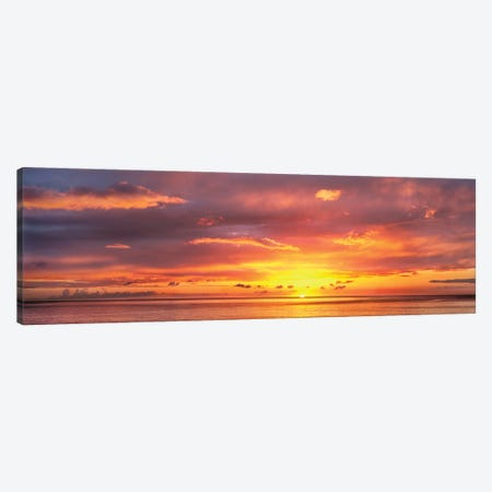 Sunset Over Caribbean Sea, West Coast, Dominica, Caribbean Canvas Print #PIM14946} by Panoramic Images Canvas Print