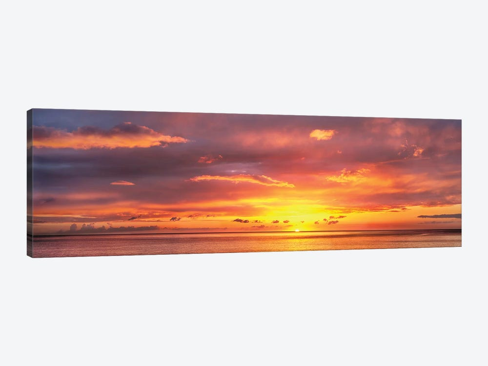 Sunset Over Caribbean Sea, West Coast, Dominica, Caribbean by Panoramic Images 1-piece Canvas Art