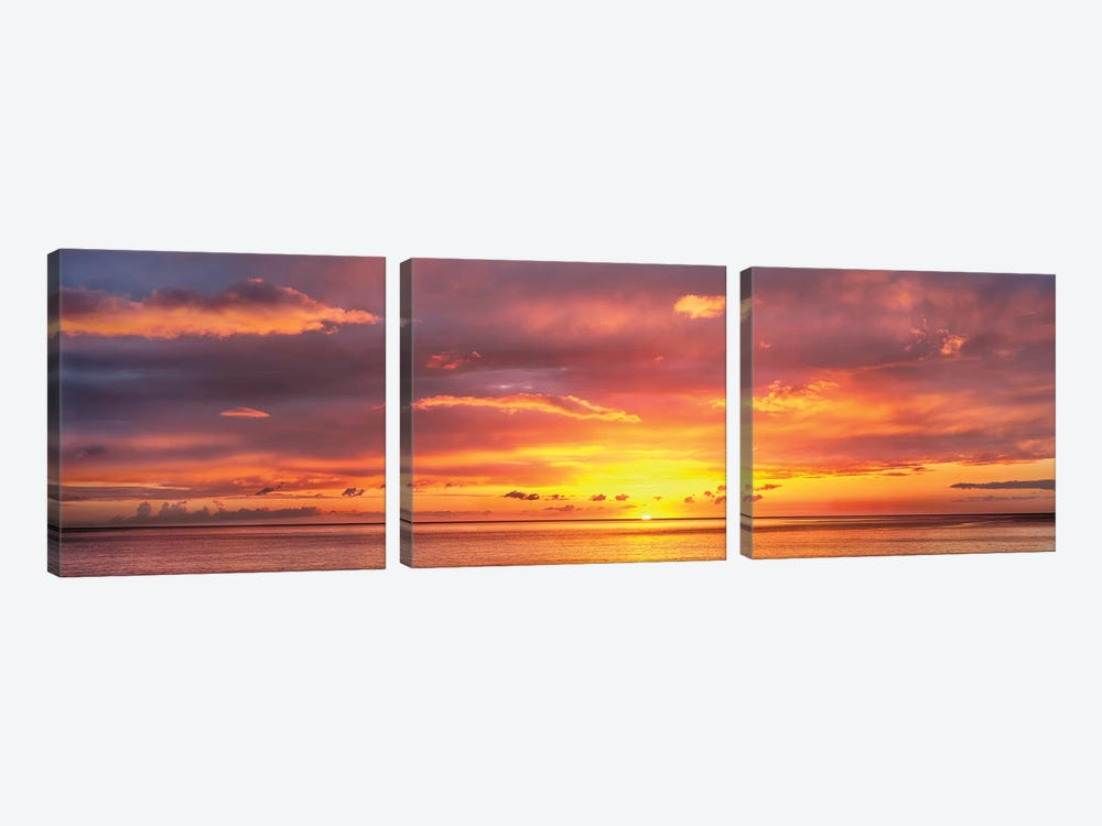 Sunset Over Caribbean Sea, West Coast, Dominica, Caribbean by Panoramic Images 3-piece Canvas Wall Art