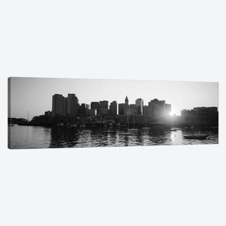 Sunset Over Skyscrapers, Boston, Massachusetts, USA (Black And White) Canvas Print #PIM14948} by Panoramic Images Canvas Art