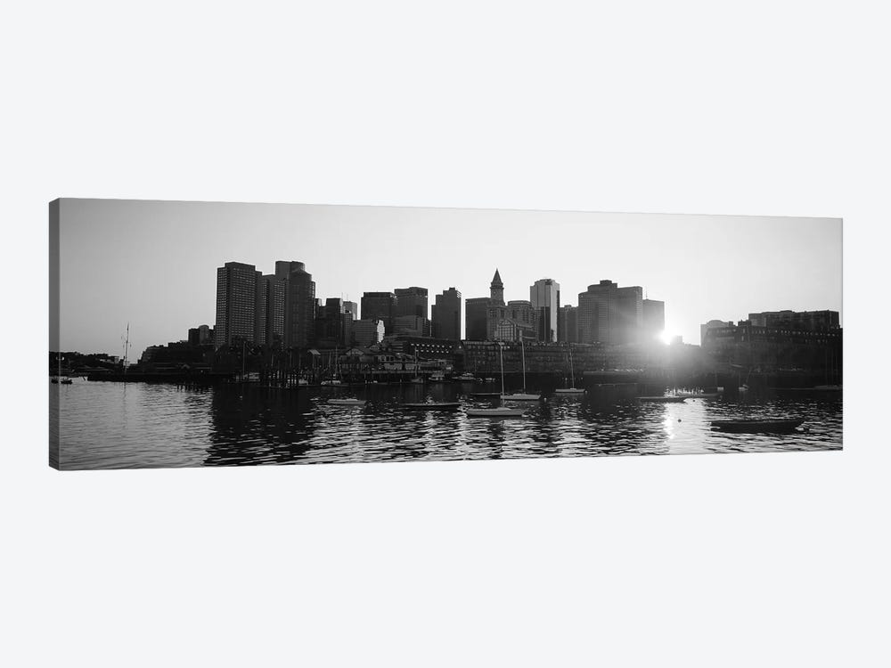 Sunset Over Skyscrapers, Boston, Massachusetts, USA (Black And White) by Panoramic Images 1-piece Canvas Artwork