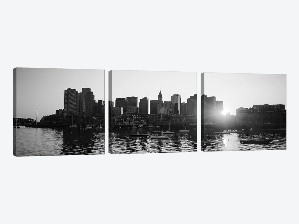 Sunset Over Skyscrapers, Boston, Massachusetts, USA (Black And White) by Panoramic Images 3-piece Canvas Wall Art