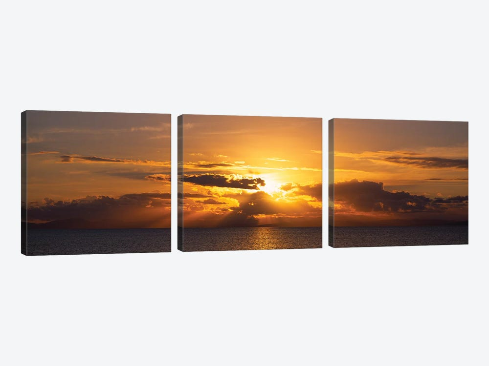 Sunset Over The Atlantic Ocean, Vieques, Puerto Rico by Panoramic Images 3-piece Art Print