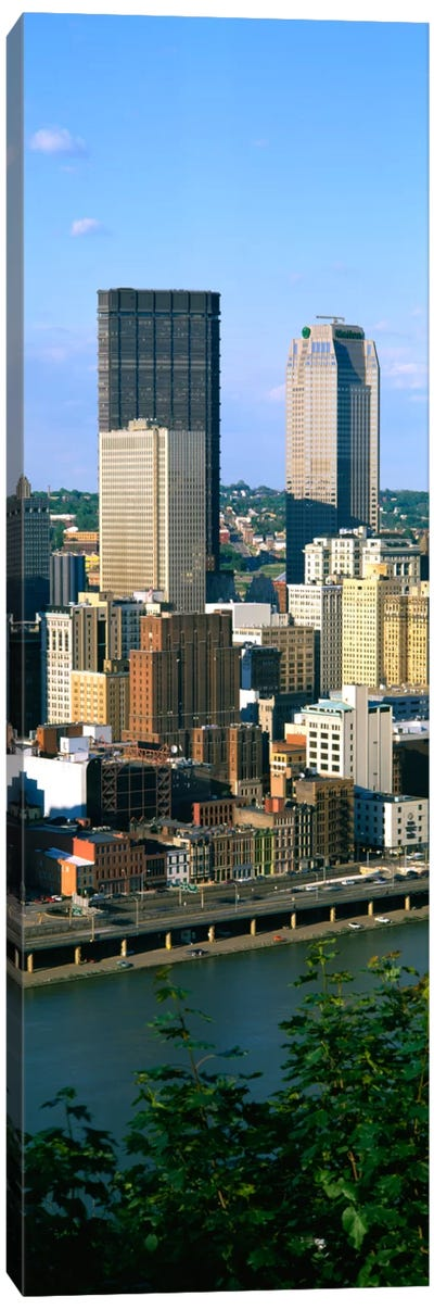 Buildings at the waterfront, Monongahela River, Pittsburgh, Pennsylvania, USA Canvas Art Print