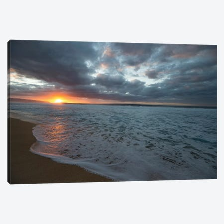 Surf On The Beach At Sunset Canvas Print #PIM14951} by Panoramic Images Canvas Print