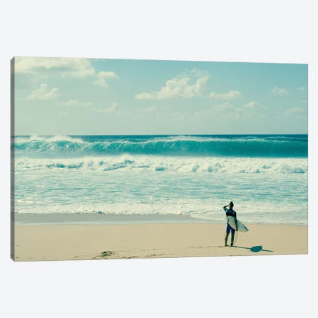 Surfer Standing On The Beach, North Shore, Oahu, Hawaii, USA I Canvas Print #PIM14953} by Panoramic Images Canvas Print