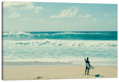 Surfer Standing On The Beach, North Shore, Oahu, Hawaii, USA I Canvas Art Print