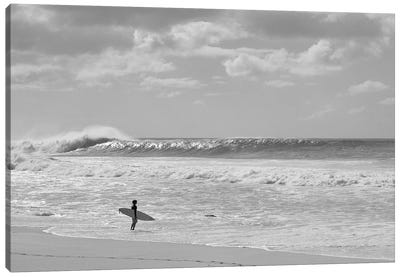 Surfer Standing On The Beach, North Shore, Oahu, Hawaii, USA II Canvas Art Print