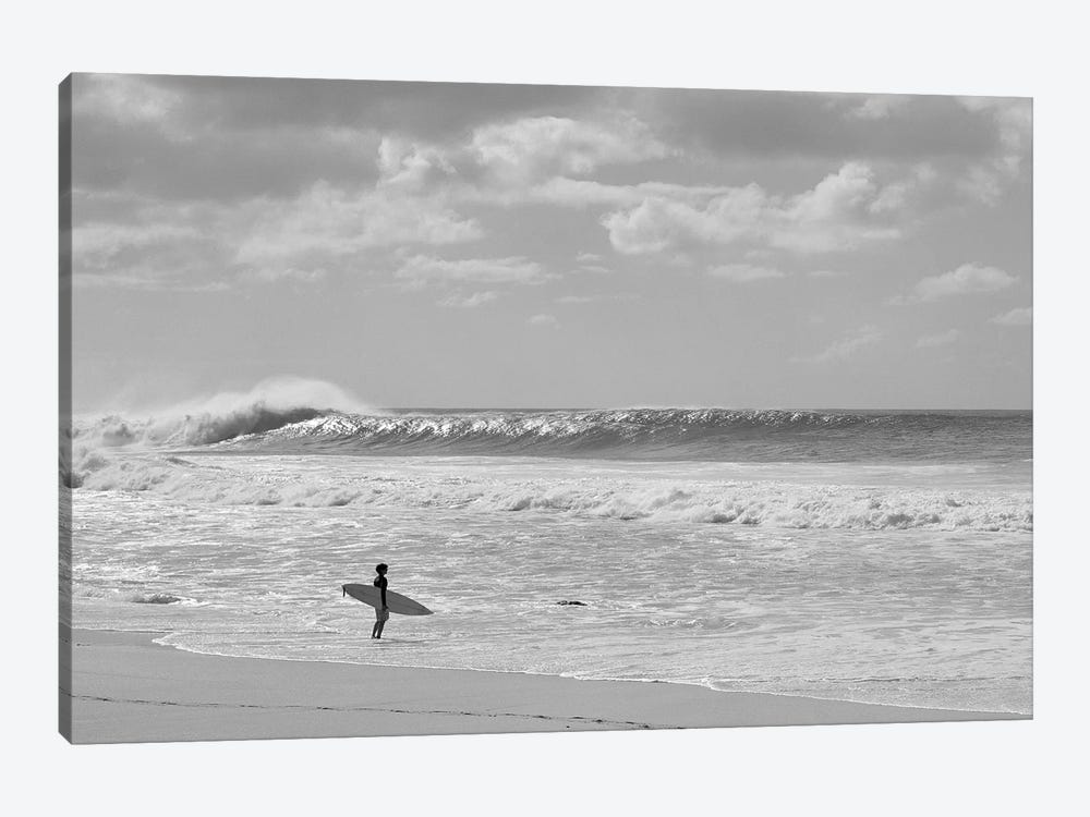 Surfer Standing On The Beach, North Shore, Oahu, Hawaii, USA II by Panoramic Images 1-piece Canvas Art Print