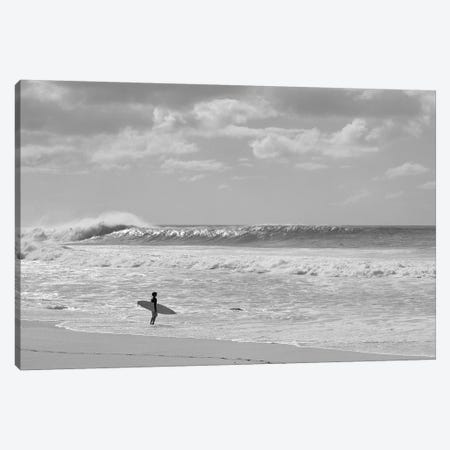 Surfer Standing On The Beach, North Shore, Oahu, Hawaii, USA II Canvas Print #PIM14954} by Panoramic Images Canvas Artwork