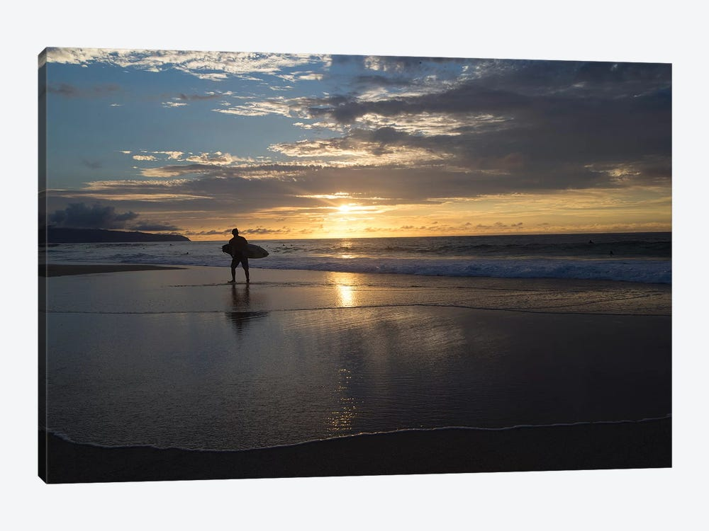 Surfer Walking On The Beach At Sunset, Hawaii, USA II by Panoramic Images 1-piece Canvas Artwork