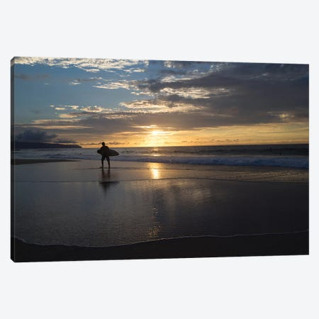 Surfer Walking On The Beach At Sunset, Hawaii, USA II Canvas Print #PIM14955} by Panoramic Images Canvas Wall Art
