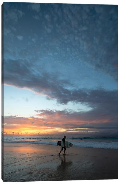 Surfer Walking On The Beach At Sunset, Hawaii, USA III Canvas Art Print
