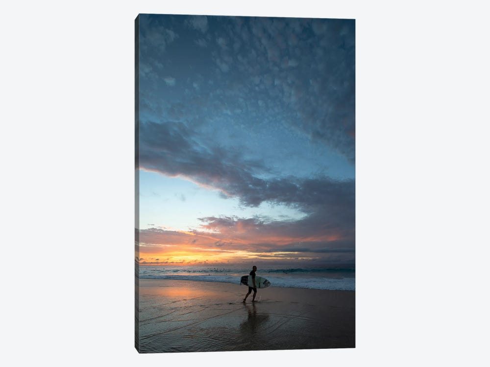 Surfer Walking On The Beach At Sunset, Hawaii, USA III 1-piece Art Print