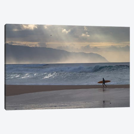 Surfer Walking On The Beach, Hawaii, USA I Canvas Print #PIM14957} by Panoramic Images Canvas Artwork