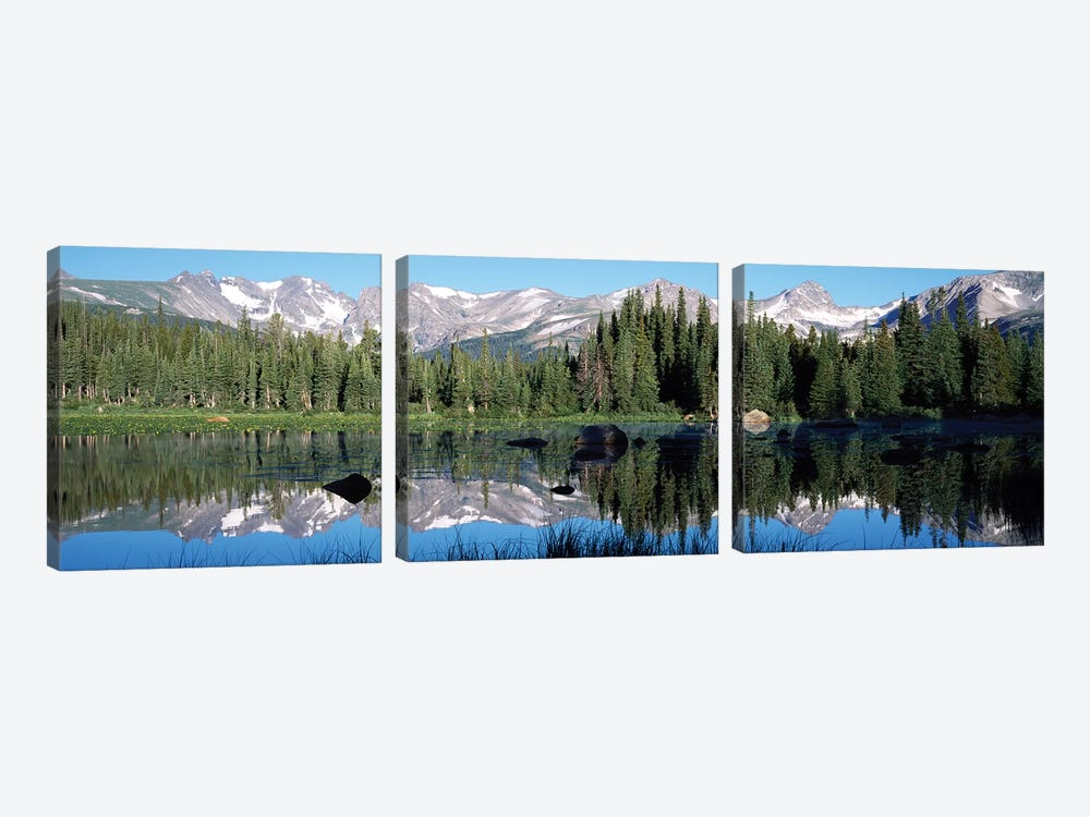 The Indian Peaks Reflected In Red Rock Lake Boulder Colorado, USA by Panoramic Images 3-piece Canvas Art
