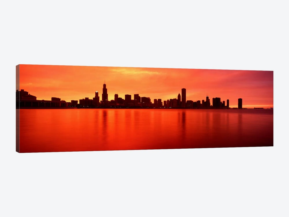 USAIllinois, Chicago, sunset 1-piece Canvas Print