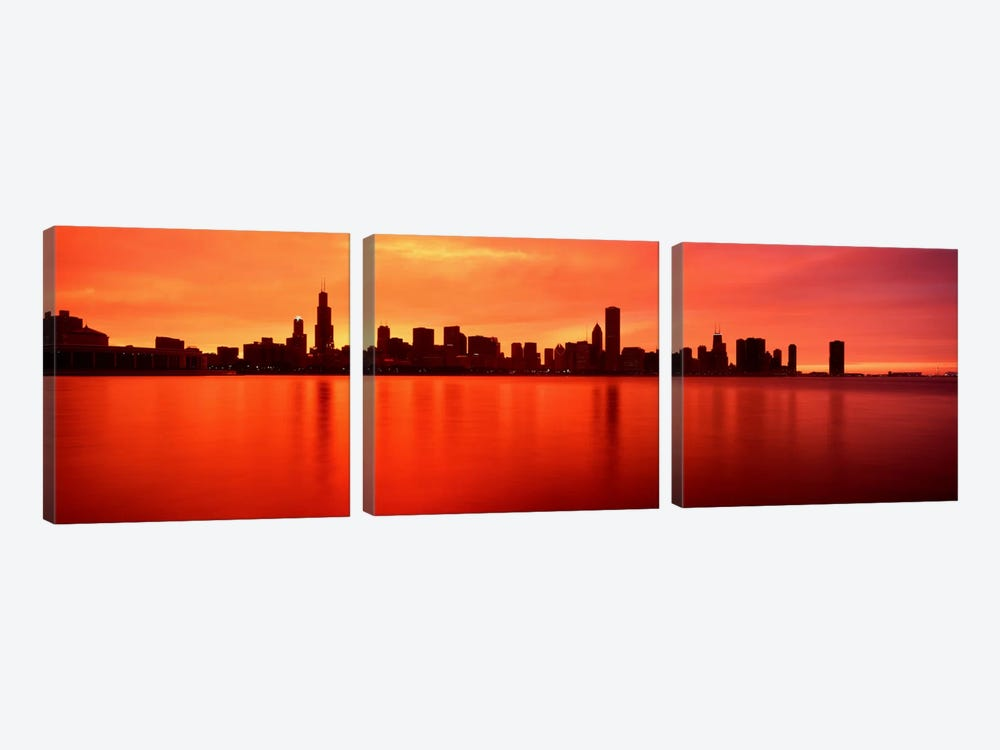 USAIllinois, Chicago, sunset by Panoramic Images 3-piece Canvas Print