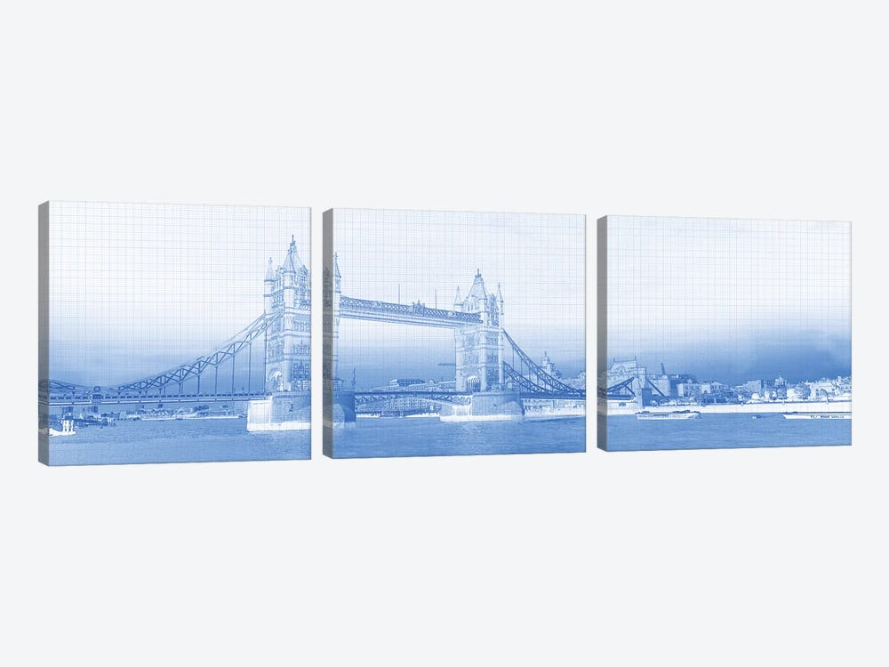 Tower Bridge On Thames River, London, England by Panoramic Images 3-piece Canvas Wall Art