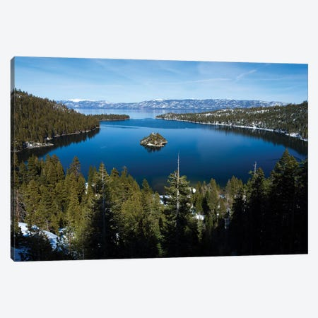 Trees At Lakeshore With Mountain Range In The Background, Lake Tahoe, California, USA I Canvas Print #PIM14968} by Panoramic Images Canvas Art