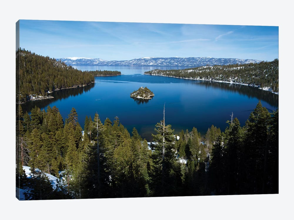 Trees At Lakeshore With Mountain Range In The Background, Lake Tahoe, California, USA I 1-piece Canvas Wall Art
