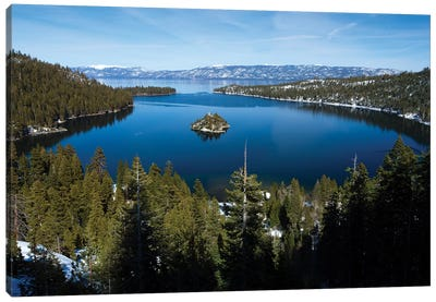 Trees At Lakeshore With Mountain Range In The Background, Lake Tahoe, California, USA I Canvas Art Print
