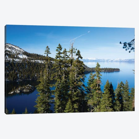 Trees At Lakeshore With Mountain Range In The Background, Lake Tahoe, California, USA II Canvas Print #PIM14969} by Panoramic Images Canvas Art