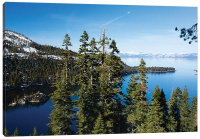 Trees At Lakeshore With Mountain Range In The Background, Lake Tahoe, California, USA II Canvas Art Print