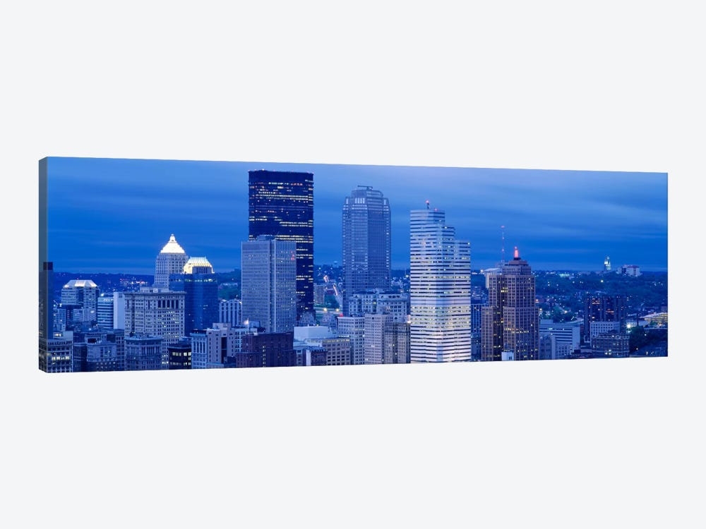 High angle view of skyscrapers lit up at duskPittsburgh, Pennsylvania, USA by Panoramic Images 1-piece Canvas Wall Art