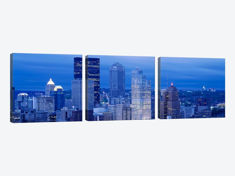 High angle view of skyscrapers lit up at duskPittsburgh, Pennsylvania, USA by Panoramic Images 3-piece Canvas Art