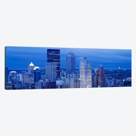 High angle view of skyscrapers lit up at duskPittsburgh, Pennsylvania, USA Canvas Print #PIM1496} by Panoramic Images Canvas Art Print