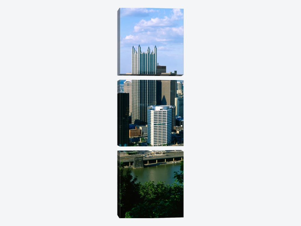 Buildings at the waterfront, Monongahela River, Pittsburgh, Pennsylvania, USA 3-piece Art Print