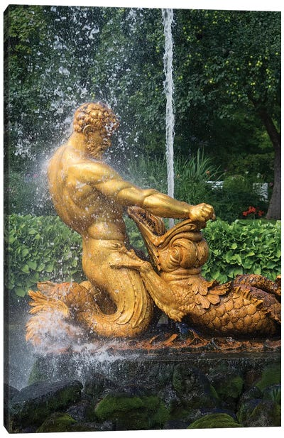 Triton Fountain At Orangery Garden, Lower Park, Peterhof Grand Palace, St. Petersburg, Russia Canvas Art Print