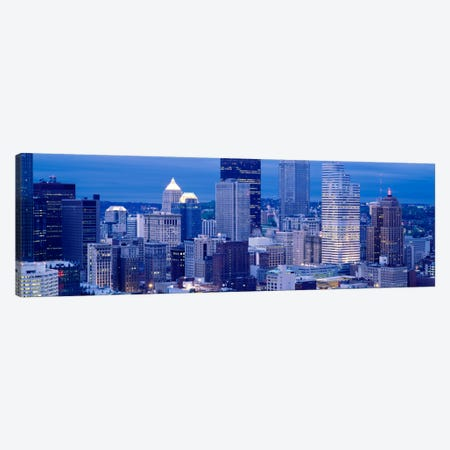 Buildings in a city lit up at dusk, Pittsburgh, Pennsylvania, USA Canvas Print #PIM1498} by Panoramic Images Canvas Wall Art