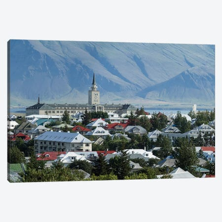 View Of City From The Top Of Perlan Building (Oskjuhlid Hill), Reykjavik, Iceland Canvas Print #PIM14992} by Panoramic Images Canvas Art Print