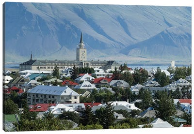 View Of City From The Top Of Perlan Building (Oskjuhlid Hill), Reykjavik, Iceland Canvas Art Print