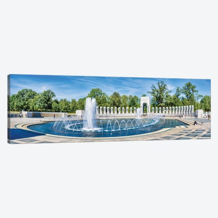 View Of Fountain At National World War II Memorial, Washington D.C., USA Canvas Print #PIM14995} by Panoramic Images Canvas Art