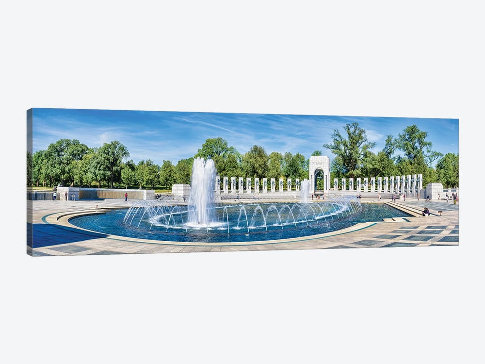 View Of Fountain At National World War II Memorial, Washington D.C., USA 1-piece Canvas Wall Art