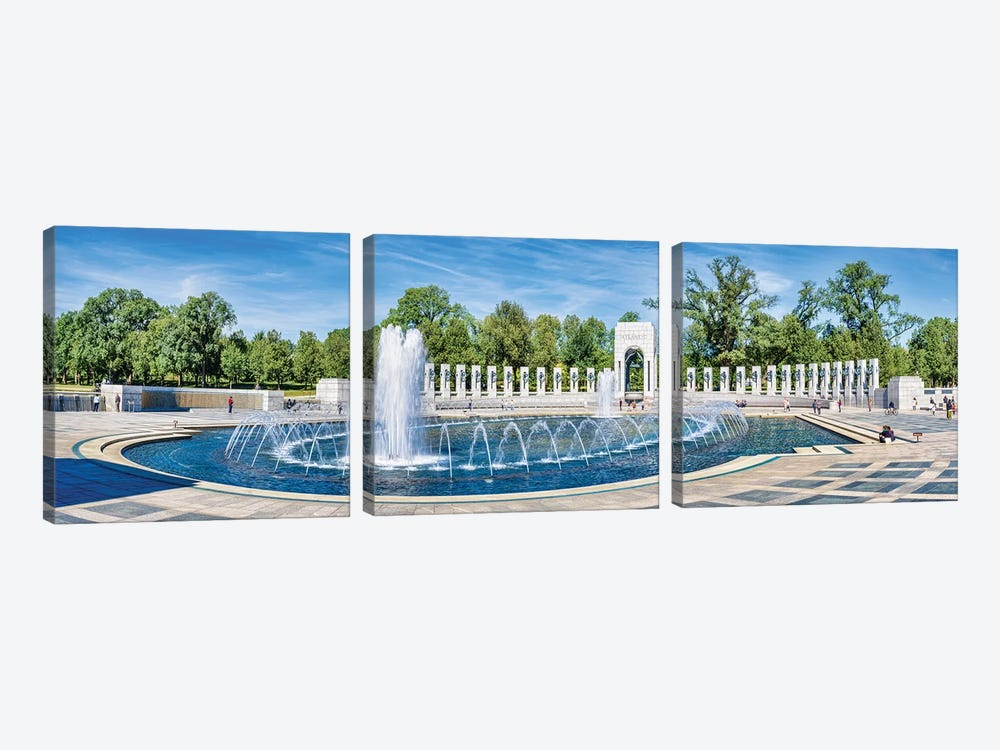 View Of Fountain At National World War II Memorial, Washington D.C., USA 3-piece Canvas Art