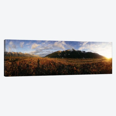 View Of Landscape With Mountain At Sunset, Alsek River, British Columbia, Canada Canvas Print #PIM14997} by Panoramic Images Canvas Artwork