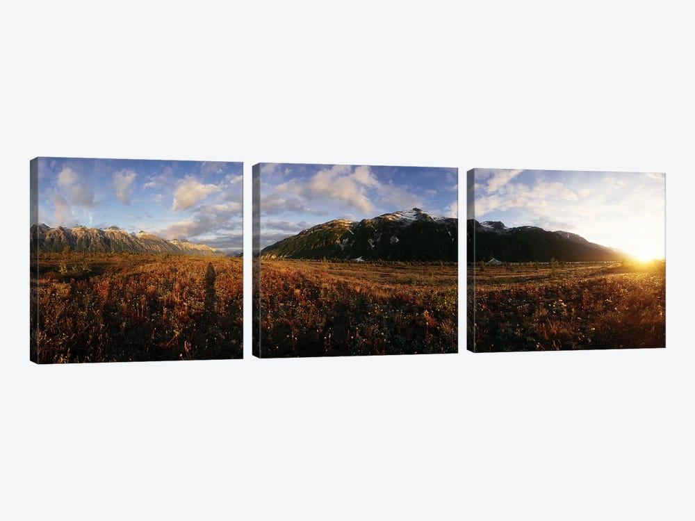 View Of Landscape With Mountain At Sunset, Alsek River, British Columbia, Canada by Panoramic Images 3-piece Canvas Wall Art