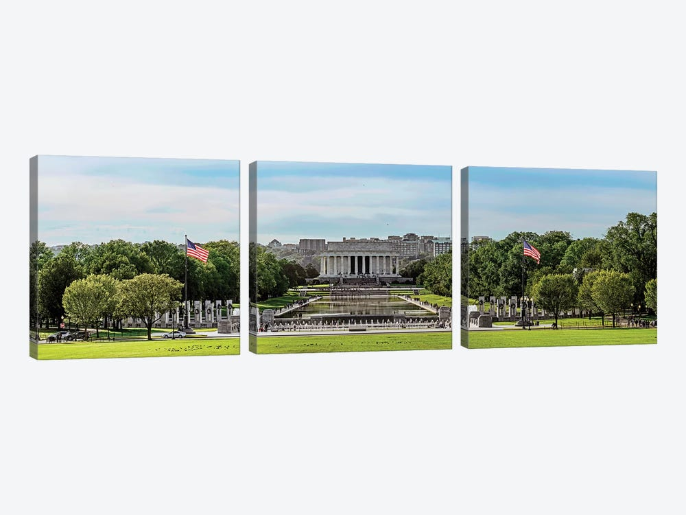 View Of Lincoln Memorial And National World War II Memorial, Washington D.C., USA by Panoramic Images 3-piece Canvas Print
