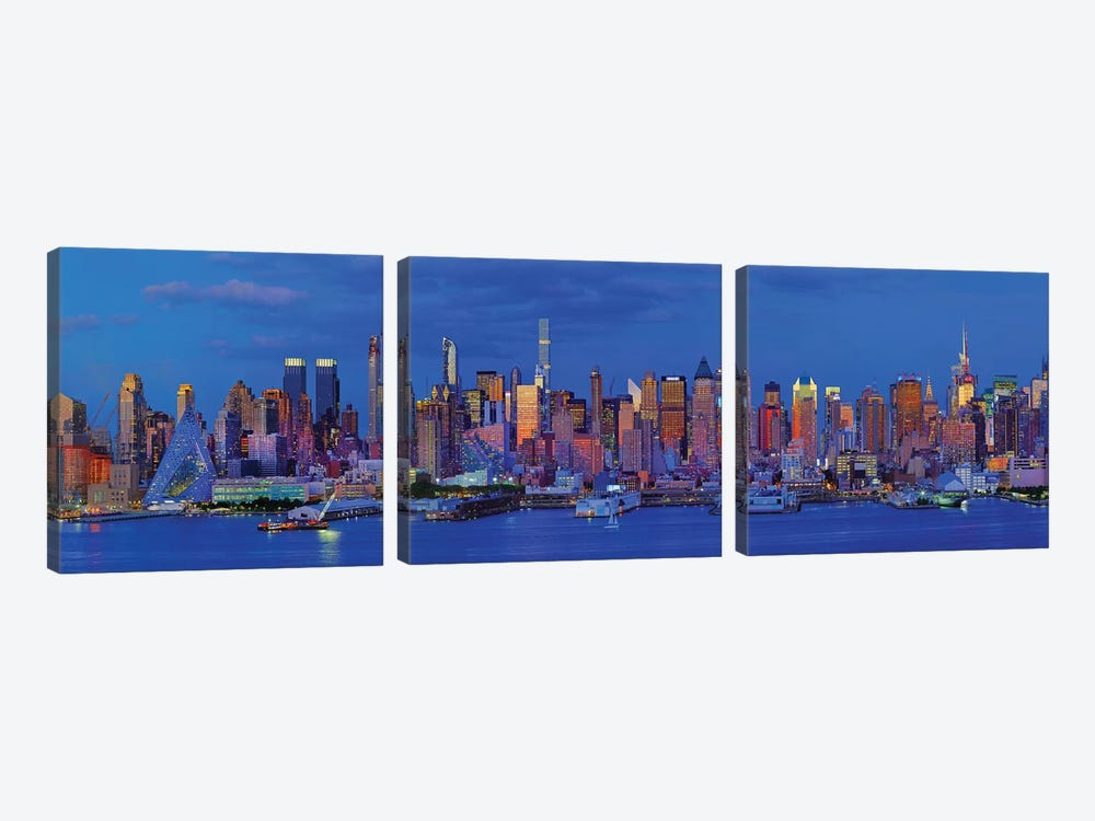 View Of Manhattan Skyline, New York City, New York State, USA I by Panoramic Images 3-piece Canvas Artwork
