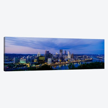 Buildings lit up at night, Monongahela River, Pittsburgh, Pennsylvania, USA Canvas Print #PIM1499} by Panoramic Images Canvas Wall Art