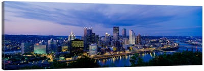 Buildings lit up at night, Monongahela River, Pittsburgh, Pennsylvania, USA Canvas Art Print