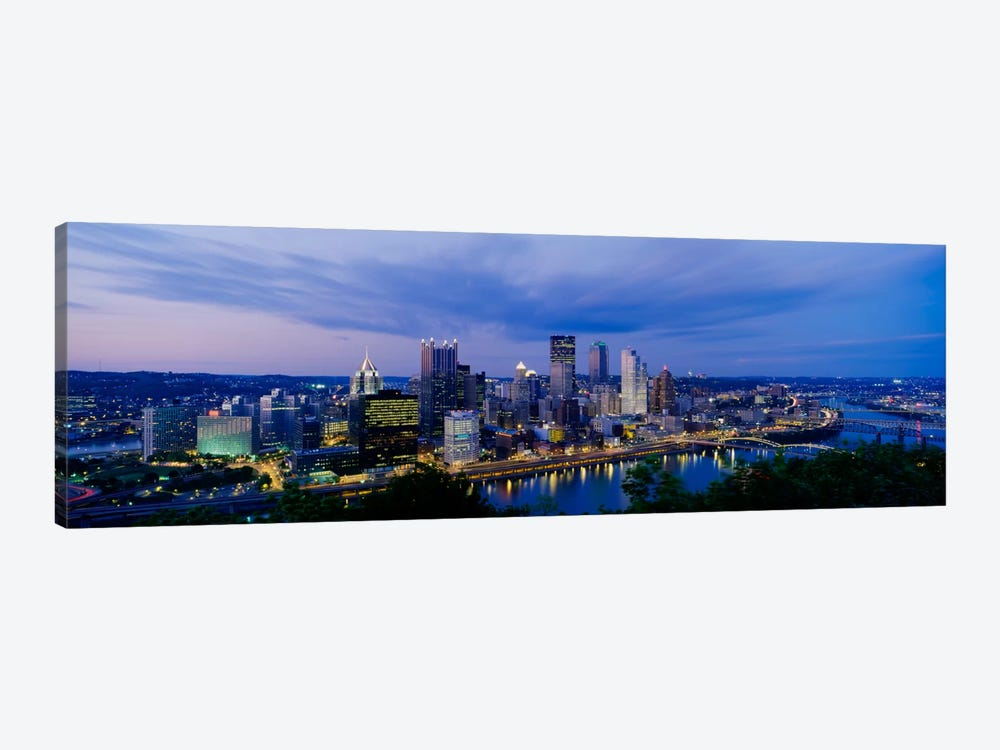 Buildings lit up at night, Monongahela River, Pittsburgh, Pennsylvania, USA by Panoramic Images 1-piece Canvas Art Print