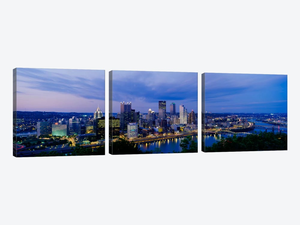 Buildings lit up at night, Monongahela River, Pittsburgh, Pennsylvania, USA by Panoramic Images 3-piece Canvas Art Print